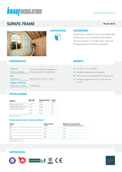 Knauf Insulation Supafil® Frame Data Sheet