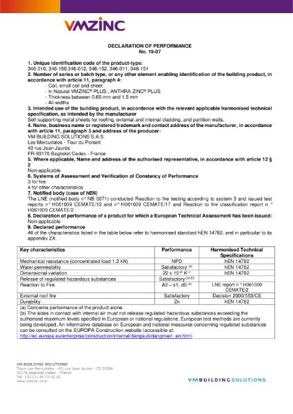 DECLARATION OF PERFORMANCE 19-07 - Natural VMZINC PLUS, ANTHRA-ZINC PLUS