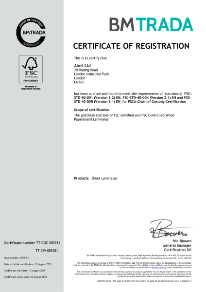 BMTRADA Certificate of Registration