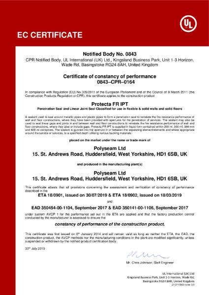 Protecta FR IPT - EC Certificate