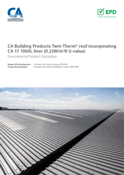 EPD CA Building Products Twin Therm roof 0.23 u value