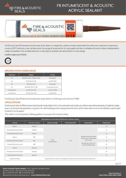 Intumescent Acoustic Acrylic Sealant Datasheet