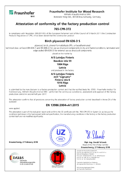 Attestation Production Control Certificate