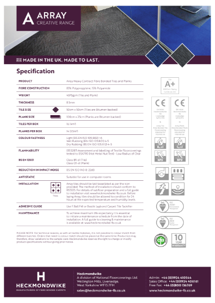 Heckmondwike - Array - Specification Sheet