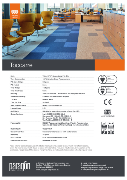 Paragon Carpet Tiles - Toccarre - Specification Information