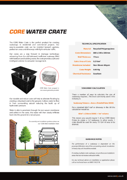 CORE WATER Crate Specification Sheet