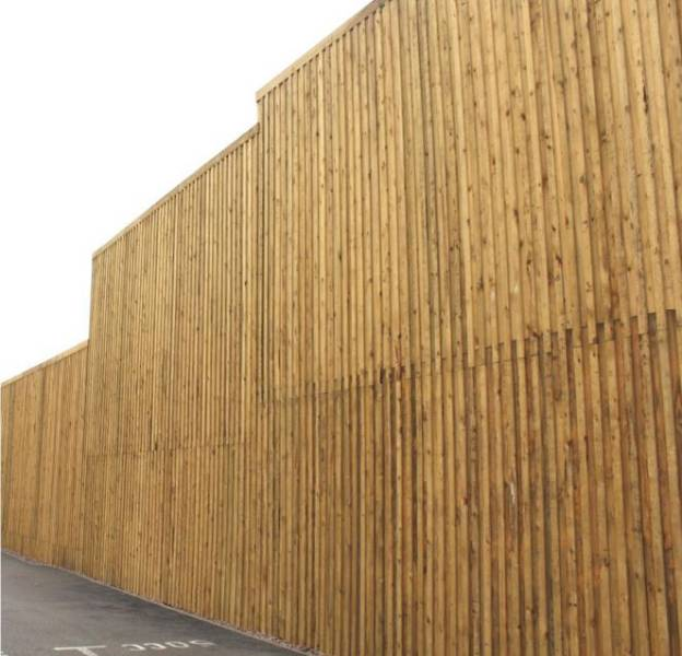 Acoustic Varying Height Timber Fencing