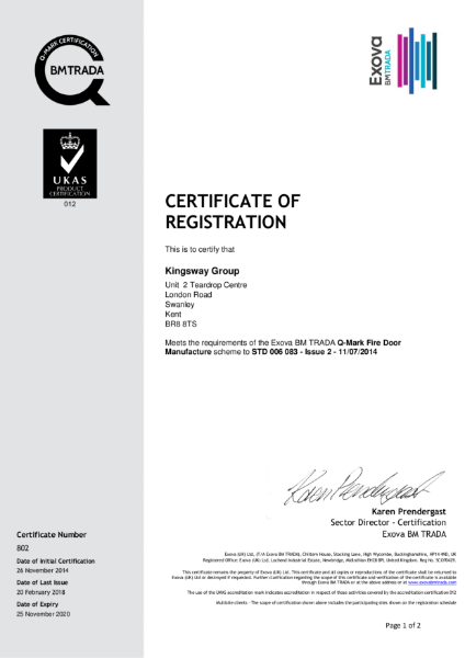 BM Trada 'Q' Mark Certificate