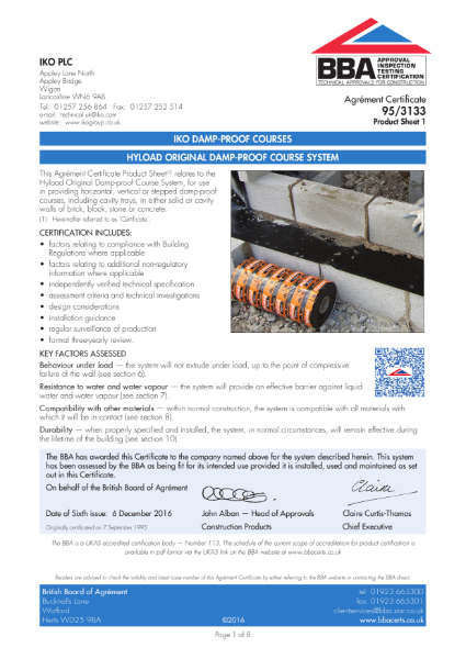 95/3133_1 Hyload Original Damp-Proof Course Systems
