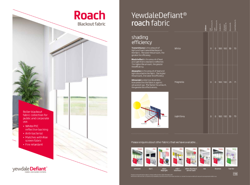 YewdaleDefiant® Roach Blackout fabric for blind systems