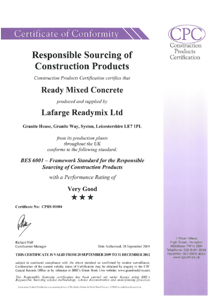Certificate of Conformity: Responsible Sourcing of Construction Products