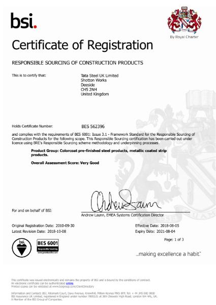 BES 6001 2010 Colors certificate
