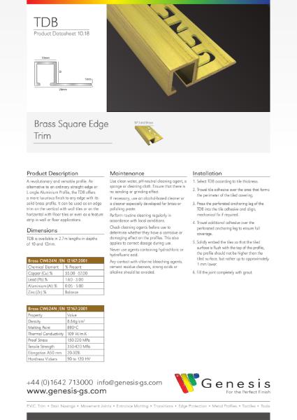 Solid Brass Square Edge Tile Trim Datasheet