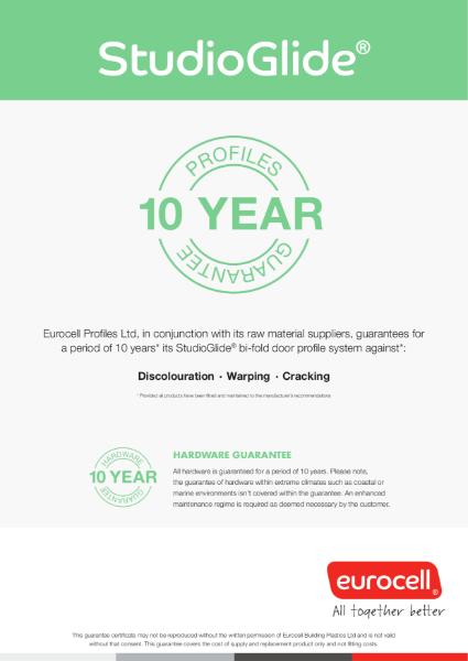 StudioGlide 10 Year Product Guarantee Certificate