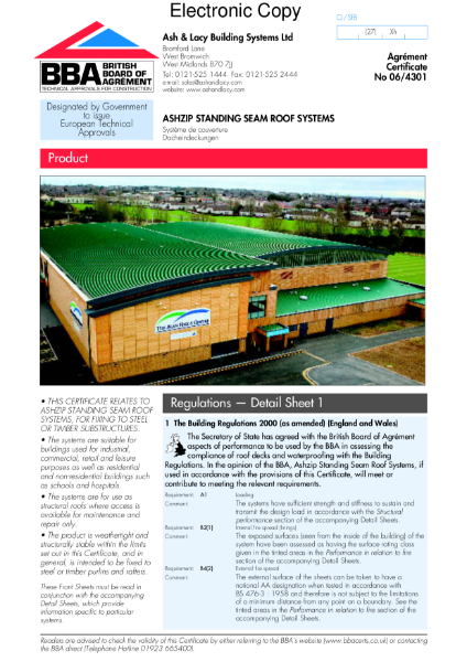 Ashzip standing seam roof systems