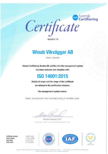 Winab factory ISO 14001 Certificate