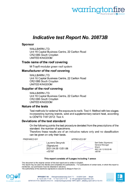 M-Tray B ROOF t4 Indicative Test Report