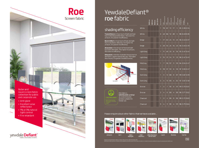 YewdaleDefiant® Roe screen fabric for blind systems