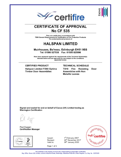 Halspan Optima 60 Certifire Certificate of Approval CF535