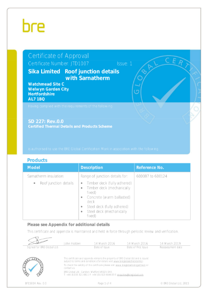 BRE Certificate