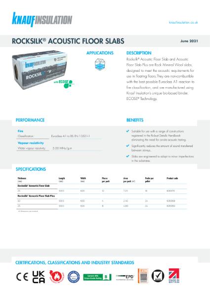 Knauf Insulation Rocksilk® Acoustic Floor Slab Insulation Data Sheet