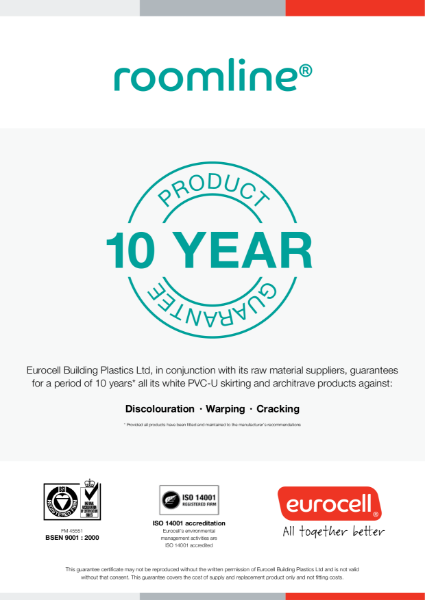 Roomline 10 Year Product Guarantee