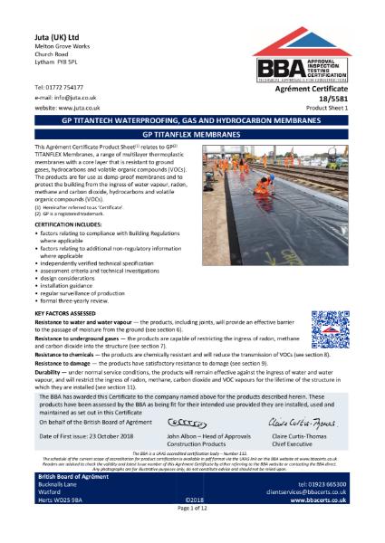 JUTA GP Titanflex 18/5581 - Product Sheet 1