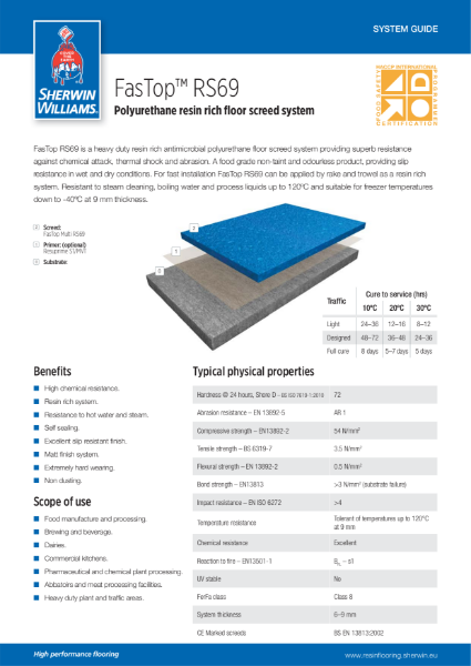 Resin flooring FasTop RS69 screed system