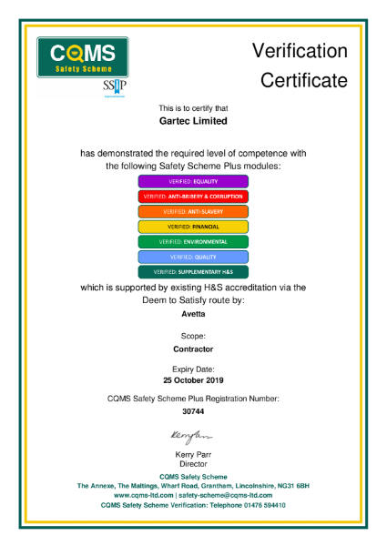 CQMS Safety Scheme Certificate