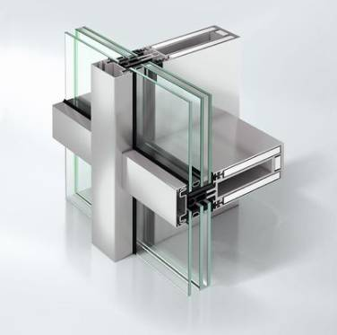 Fire-resistant stick curtain walling façade system - FW50+ BF