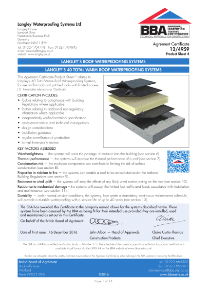 12/4959_4 Langley's 40 Total Warm Roof Waterproofing systems