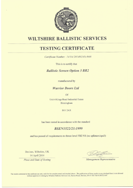 Ballistic Test Certificate Screen Option 3 BR2