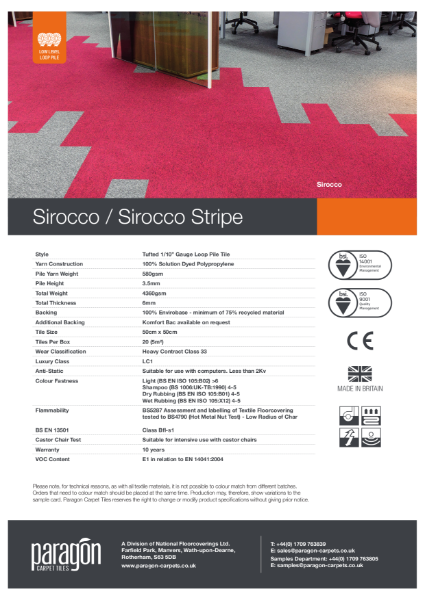 Paragon Carpet Tiles - Sirocco - Specification Information