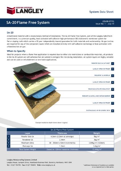 SA-20 Flame Free System Data Sheet