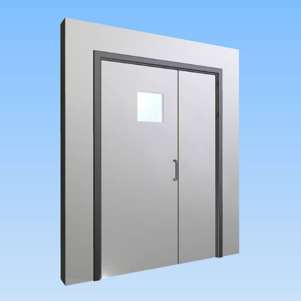 CS Acrovyn® Impact Resistant Doorset - Unequal pair leaf with type VP9 Vision Panel