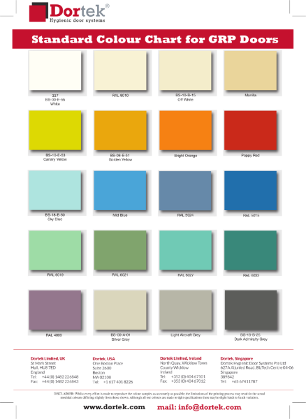 6. Dortek GRP Doors Colour Chart