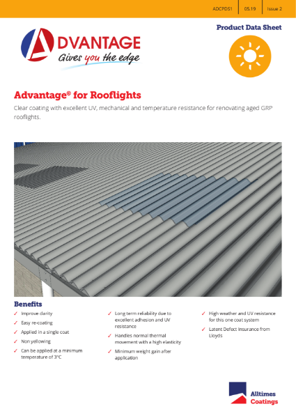 Advantage for GRP Rooflights - Product Data Sheet