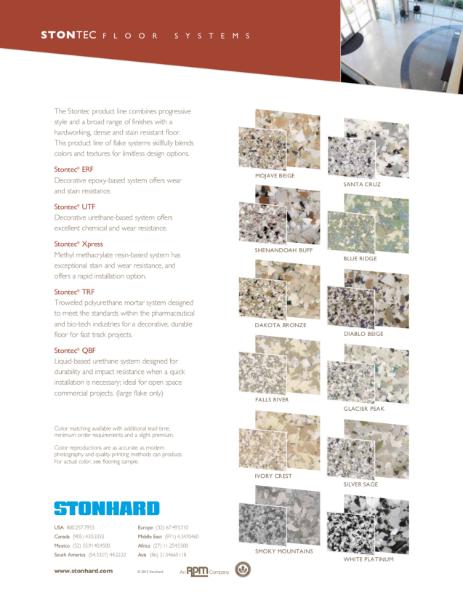 Stontec Resin Flooring Colour Chart