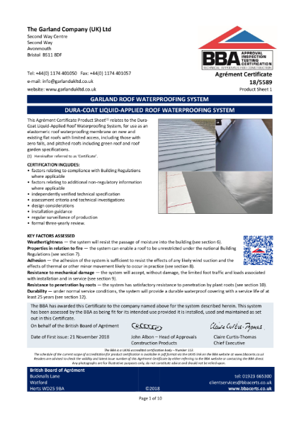 18/5589 Dura-Coat Liquid-Applied Roof Waterproofing System