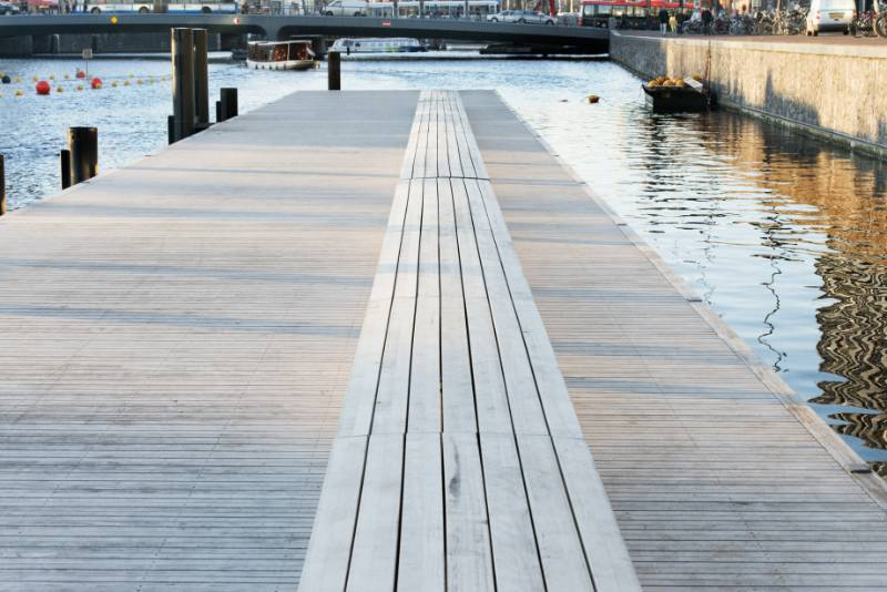 Accoya decking selected for a floating jetty in Amsterdam, Netherlands