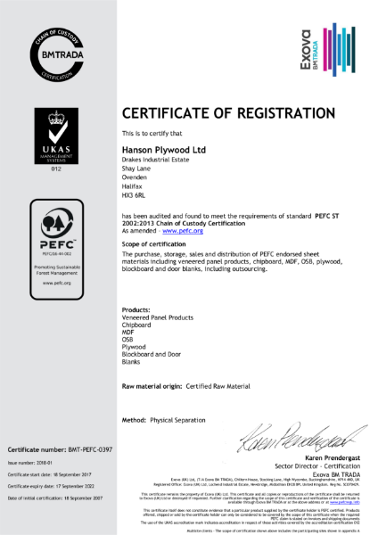 PEFC Chain of Custody Certificate