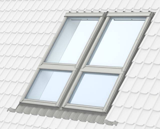 GPU manually operated, white polyurethane, top-hung roof window with GIU sloping fixed windows below, combination installation
