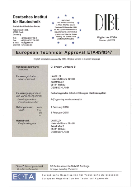 Continuous Rooflight European Technical Approval (ETA-09-0347) Certificate