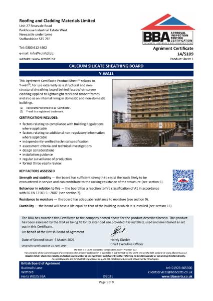 14_5109_Calcium_Silicate_Sheathing_board_Y-Wall_BBA_Certificate