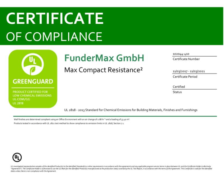 GREENGUARD Certification Max Resistance²