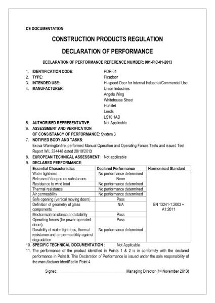 CE Declaration - Picadoor