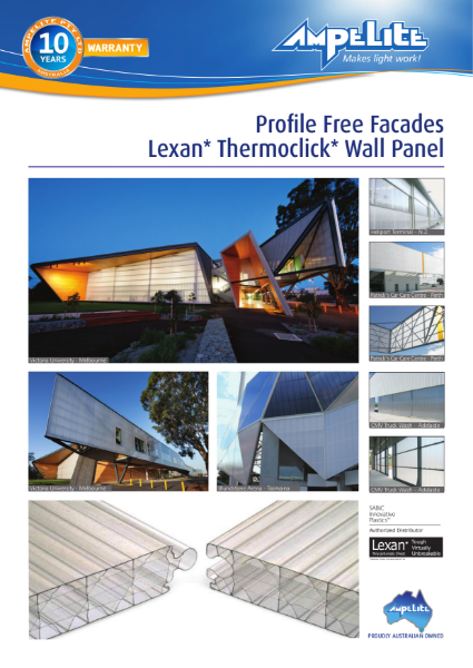 Lexan Thermoclick wall panel, profile free facades