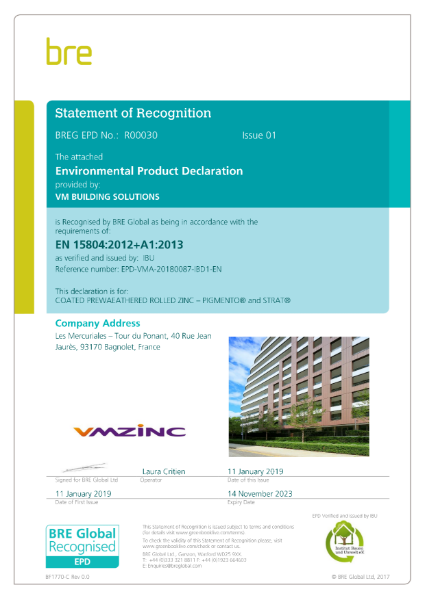 BRE Certification EN15804 Pre-Weathered PIGMENTO & STRAT