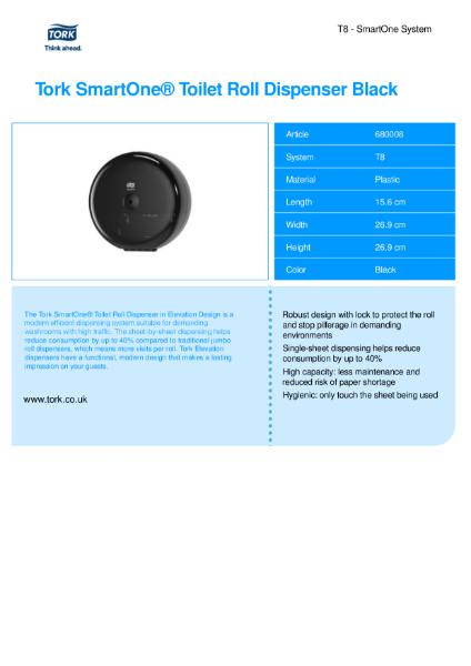 Tork Smartone Toilet roll dispenser (Black)