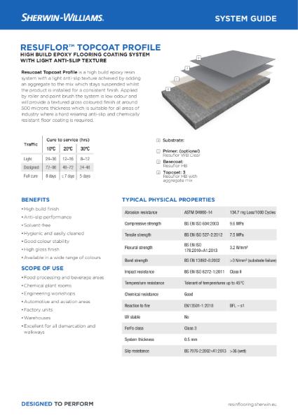 Resin flooring Resuflor Topcoat Profile coating system